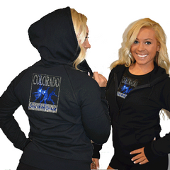 Fitted Zip Up Hoodie Featuring Colorado School of Dance Logo on Back