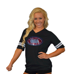 Football Style T-Shirt Featuring CSA Logo in Rhinestones