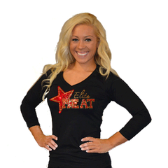 3/4 Sleeve Shirt Featuring Rhinestone Elite Heat Logo