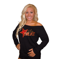 Off the Shoulder Slouchy Shirt Featuring Elite Heat Rhinestone Logo
