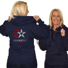 Jerzees Relaxed Fit Hoodie Featuring American Gymnastics Rhinestone Logo