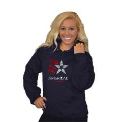 Pullover Style Hoodie Featuring Rhinestone American Gymnastics Logo