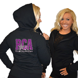 Fitted Zip Up Hoodie Featuring River City Allstars Logo on Back