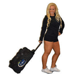 Bling Rolling Duffel Bag Featuring Blue Storm Athletics Rhinestone Logo