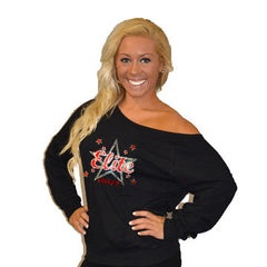 Off the Shoulder Summer Slouchy Featuring Bayonne PAL Elite Cheer Rhinestone Logo