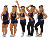 Everyday Essentials Practicewear Sports Bra and Capri Set Featuring Turners Logo in Rhinestones