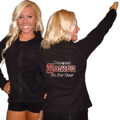 Fleece Jacket Featuring Universal Sonics Rhinestone Logo on Back