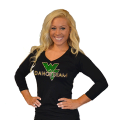 3/4 Sleeve Shirt Featuring Rhinestone Waubonsie Valley Dance Logo