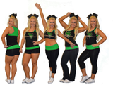Everyday Essentials Practicewear Sports Bra and Capri Set Featuring Waubonsie Valley Dance Logo in Rhinestones