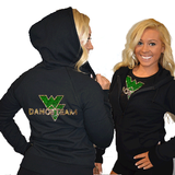 Fitted Zip Up Hoodie Featuring Waubonsie Valley Dance Logo on Back