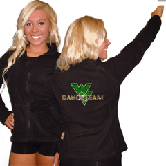 Fleece Jacket Featuring Waubonsie Valley Dance Rhinestone Logo on Back
