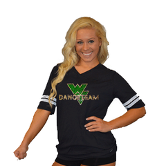 Football Style T-Shirt Featuring Waubonsie Valley Dance Logo in Rhinestones