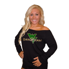 Off the Shoulder Slouchy Shirt Featuring Waubonsie Valley Dance Rhinestone Logo