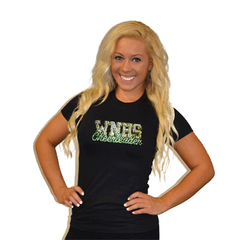 Fitted T Shirt Featuring WNHS Cheerleader Logo in Rhinestones