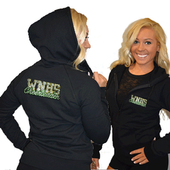 Fitted Zip Up Hoodie Featuring WNHS Cheerleader Logo on Back