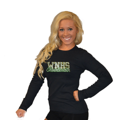 Long Sleeve T-Shirt Featuring WNHS Cheerleader Logo in Rhinestones