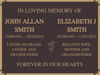 Quality Bronze Plaque for two names 200mm x 150mm