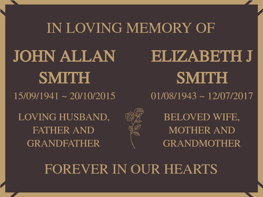 Quality Bronze Plaque for two names 380mm x 280mm