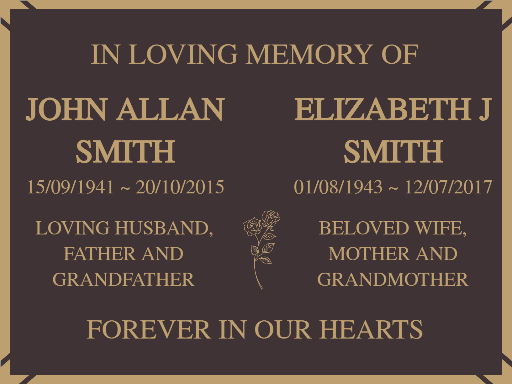 Quality Bronze Plaques for two names 380mm x 280mm