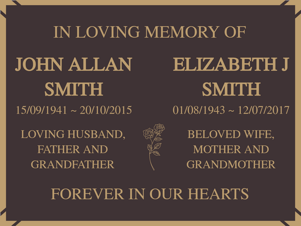 Quality Bronze Plaques for two names 200mm x 150mm