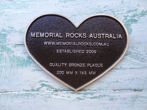 Quality Bronze Heart Shaped Plaque 200mm x 148mm