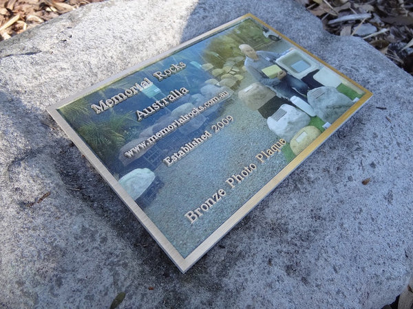 Memorial Marker / Paver with Photo Bronze Plaque 270mm x 170mm