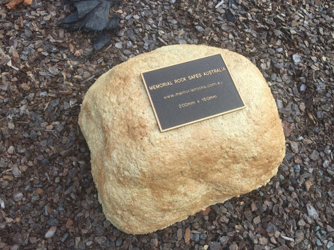 Memorial Rock Urn 878 Medium-Double Sandstone-Gold Series.
