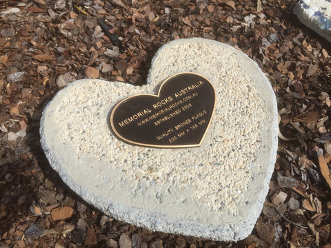 Novelty Heart Memorial Paver Stone 780 (Not an Urn) Includes Quality Bronze Heart 200mm x 148mm