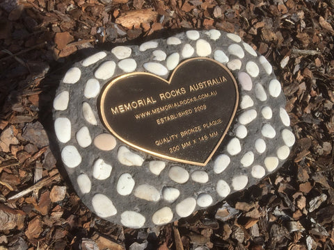 Novelty Memorial Paver Stone 786 (Not an Urn) Includes a quality 200mm x 150mm x4.5mm Bronze Heart Plaque