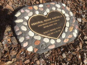 Novelty Memorial Paver Stone 787 (Not an Urn) Includes a quality 200mm x 150mm x4.5mm Bronze Heart Plaque