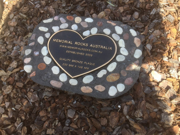 Novelty Memorial Paver Stone 787 (Not an Urn) Includes a quality 200mm x 148mm x 4.5mm Bronze Heart Plaque