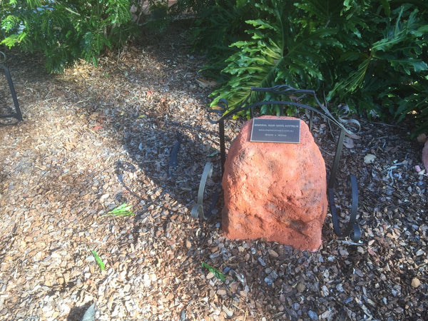 Memorial Rock Urn 805 Medium-Single. Tall Novelty (with glass option)   Outback Red Series