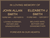 Quality Bronze Plaque Standard Design for Two Names 220mm x 150mm