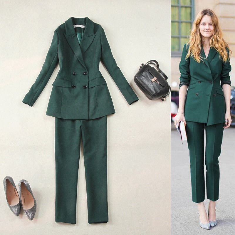 291d36d97cb Women's Work Pant Suits 2 Piece Sets Double Breasted Blazer Jacket + Pant  Office Lady Suit