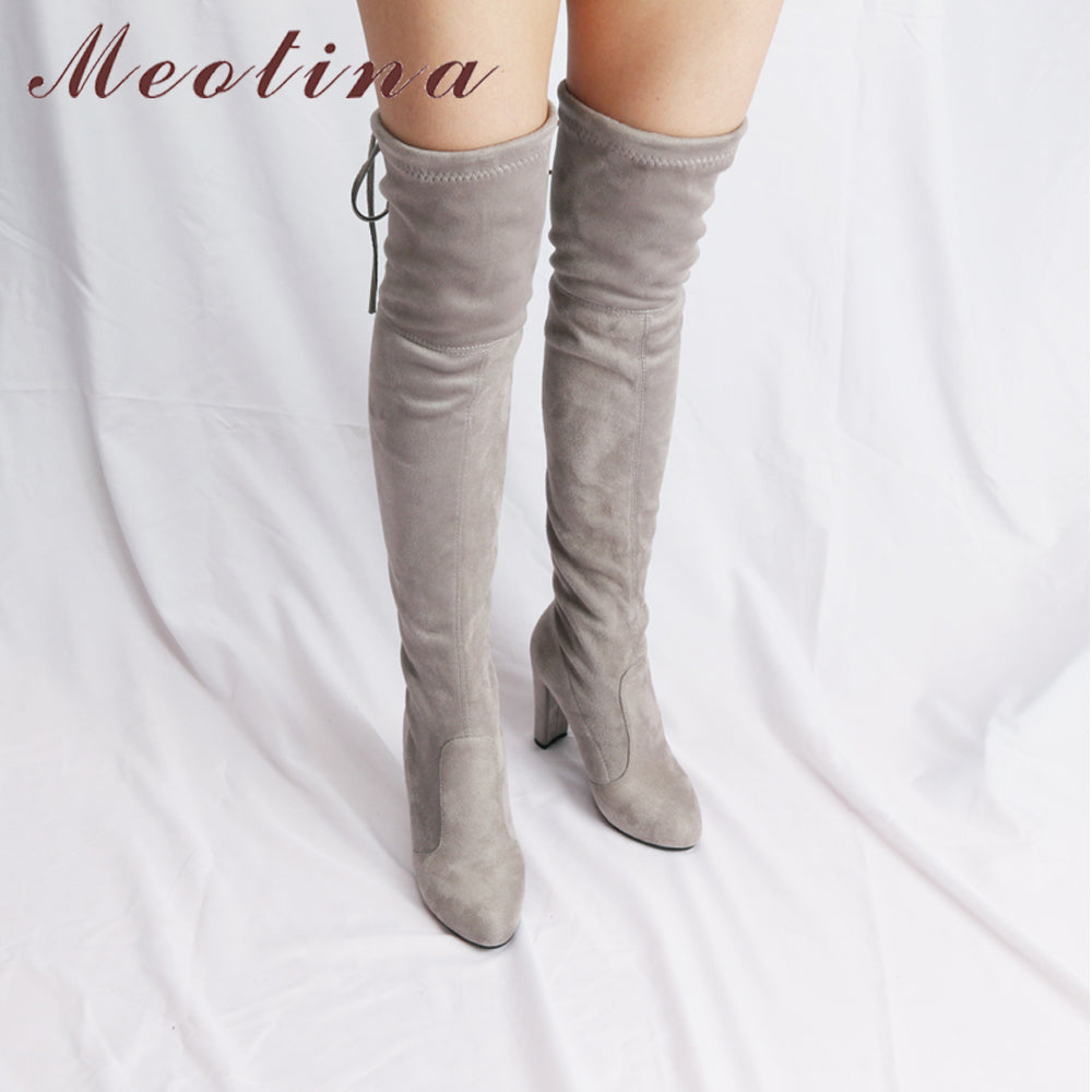 Meotina Women Shoes Winter High Heels Over the Knee Boots Sexy Lace Up  Flock 2018 Autumn a41c769a9df1