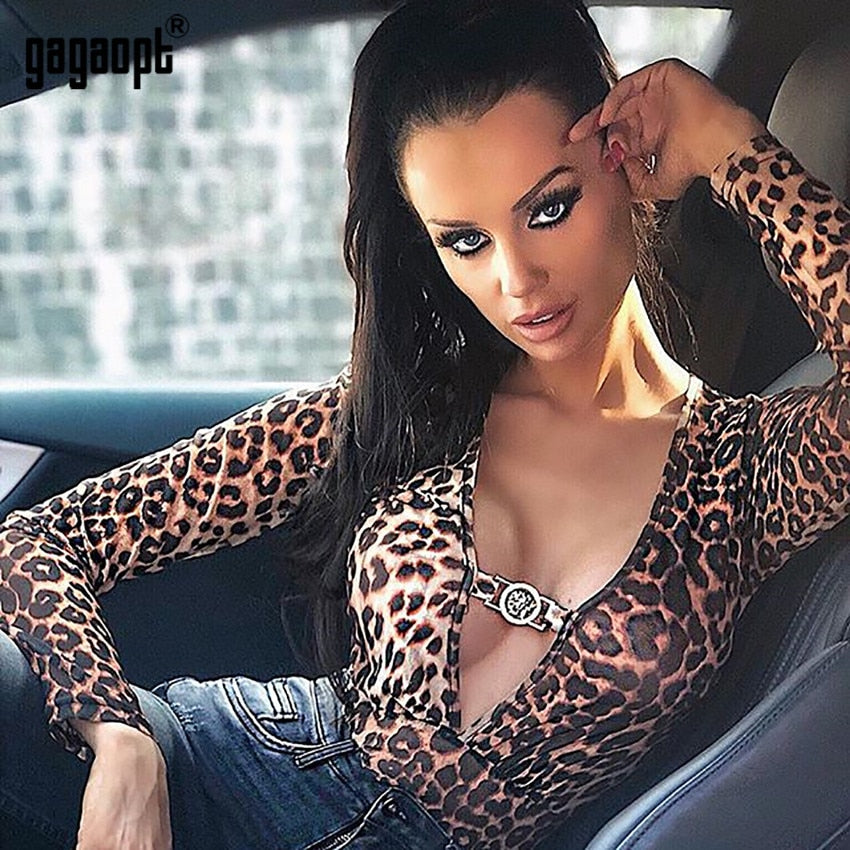 962cb2f816f9 Gagaopt 2018 Leopard Bodysuit Women Bodycon Bodysuit Long Sleeve Deep V  Neck Sexy Bodysuit Jumpsuit Romper