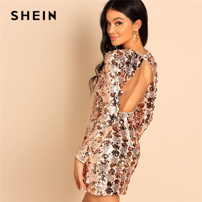 SHEIN Gold Party Sexy Backless Sequin Round Neck Long Sleeve Bodycon Dress  Autumn Club Slim Fit 56b62d8fe58b