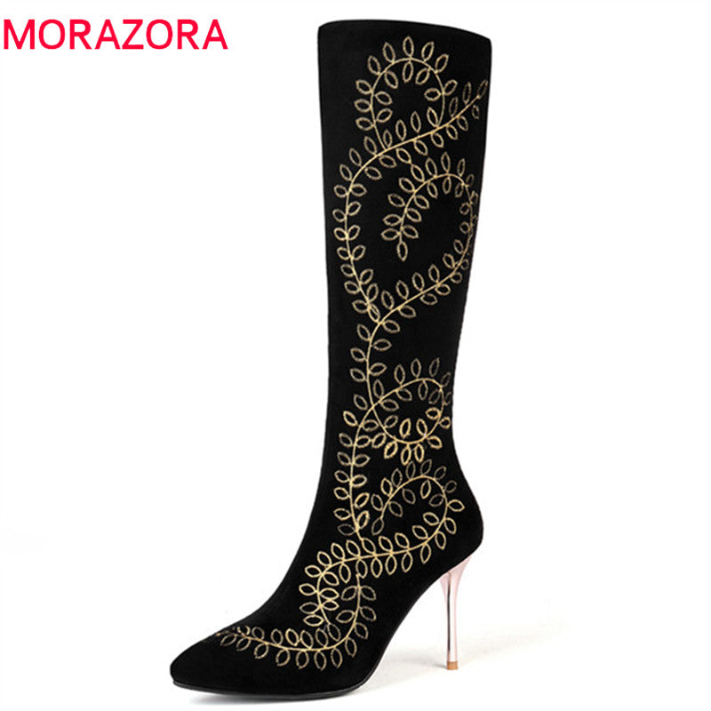 010f8d67d MORAZORA 2018 big size 33-45 knee high boots women top quality suede leather  autumn