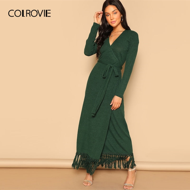 df91bea0b2 COLROVIE Green V-Neck Knot Fringe Belted Wrap Knitted Slim Party Maxi Dress  Women 2019