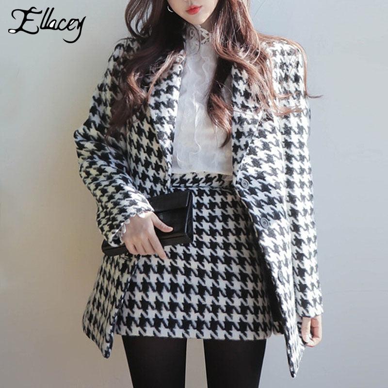 2d7bb0bad68a1 Ellacey Autumn Winter Fashion Houndstooth Woolen Coat + Mini Skirt Suit  Women 2 Piece Set Ladies