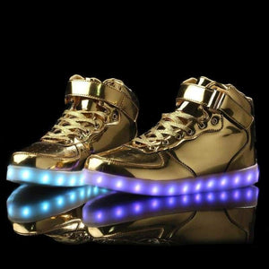 LED Shoes - Flashez - Gold High Top LED Trainers