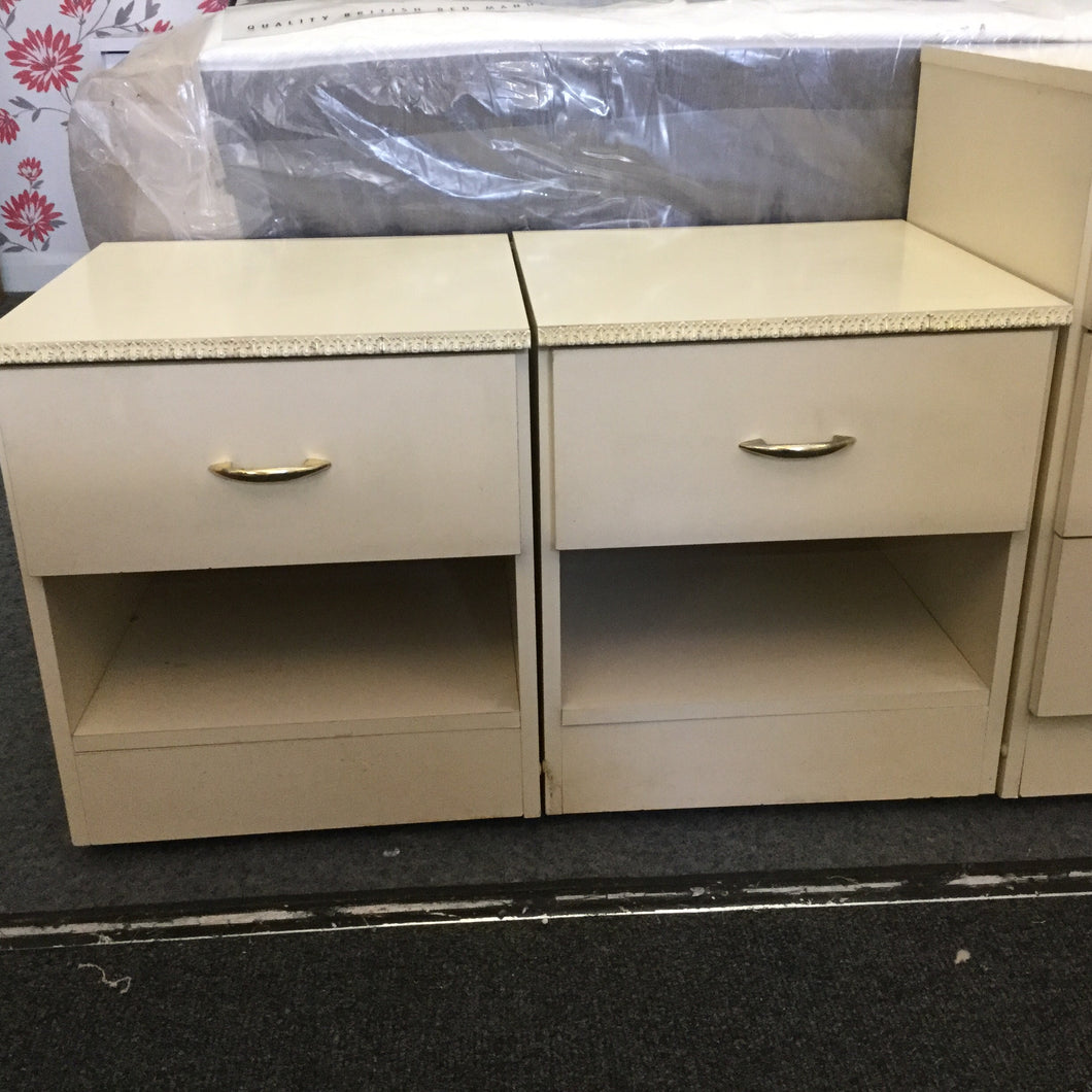 Pair of Cream One Drawer Bedside Units