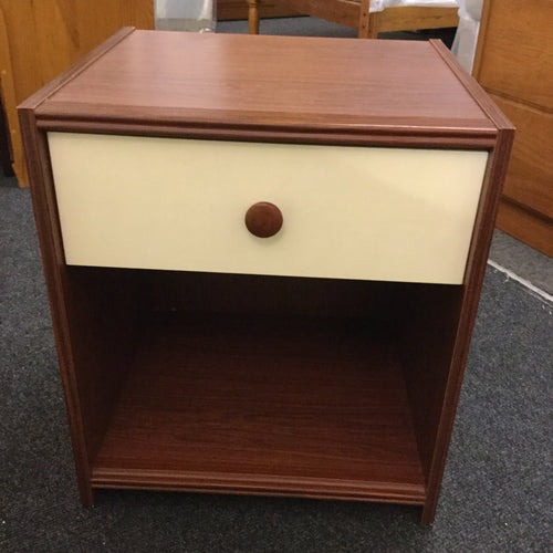 One Drawer Bedside in Brown and Cream