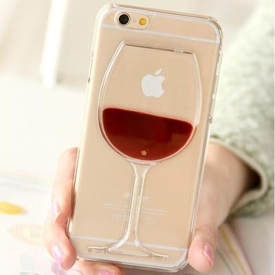 Wine Glass Lips Liquid Quicksand Transparent Phone Case Cover For iPhone