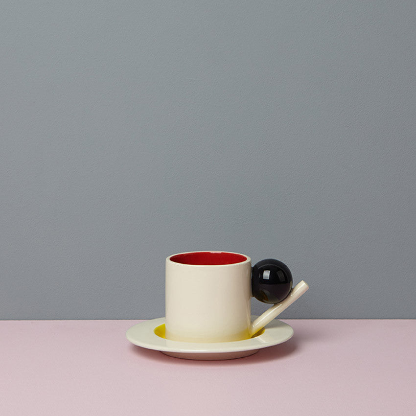 GEOMETRIC CUP & SAUCER / RED, BLACK, YELLOW