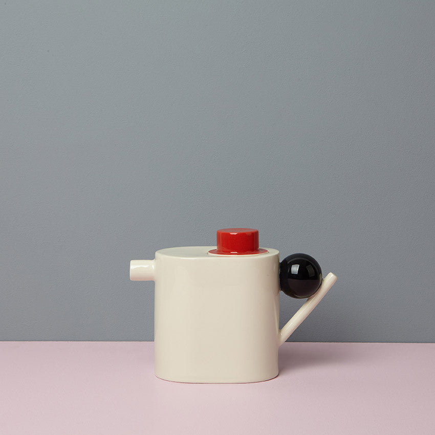 GEOMETRIC TEA POT / RED, BLACK