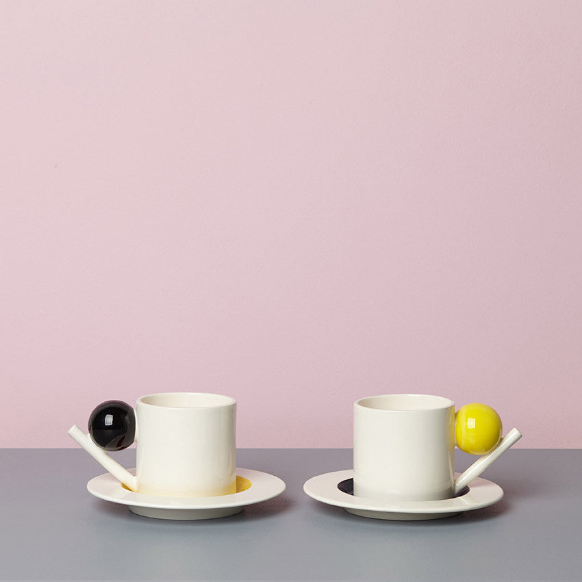GEOMETRIC CUP & SAUCER / YELLOW BALL
