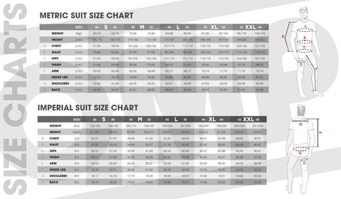 OMP FIRST-S Suit Sizing Chart