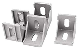 TR8020 40mm Black Aluminium Corner Bracket with ABS Cap (Set of 4)