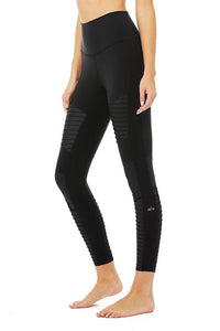 7/8 High-Waist Moto Legging, black
